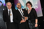 © Joel Goodman - 07973 332324 . 03/03/2016 . Manchester , UK . Michael Hardacre , president of Manchester Law Society , winner Law Firm Innovation SUCHEET AMIN obo Aequitas Legal (centre) . The Manchester Legal Awards from the Midland Hotel . Photo credit : Joel Goodman