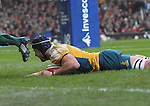 Mark Chisholm dives over to score Australia's first try. Wales V Australia, Invesco Perpetual Series 2008. © Ian Cook IJC Photography iancook@ijcphotography.co.uk www.ijcphotography.co.uk