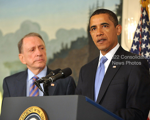 Washington, D.C. - April 29, 2009 -- United States President Barack Obama, right, makes a statement welcoming United States Senator Arlen Specter (Democrat of Pennsylvania), left, to the Democratic Party.  In his remarks the President also addressed the effects of the H1N1 virus and his administration's response to the potential epidemic..Credit: Ron Sachs / Pool via CNP