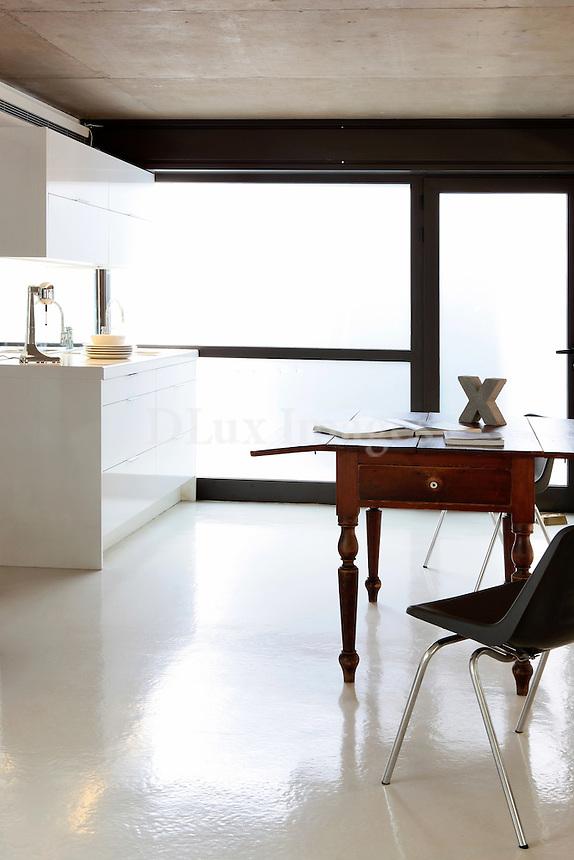 modern white open plan kitchen