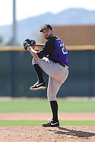 Tyler Chatwood of the Colorado Rockies pitches during a Minor League Spring Training Game against the San Francisco Giants at the Colorado Rockies Spring Training Complex on March 18, 2014 in Scottsdale, Arizona. (Larry Goren/Four Seam Images)