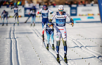 1st January 2020, Toblach, South Tyrol , Italy;  Oskar Svensson of Sweden competes in the mens 15 km classic technique pursuit during Tour de Ski on January 1, 2020 in Toblach.
