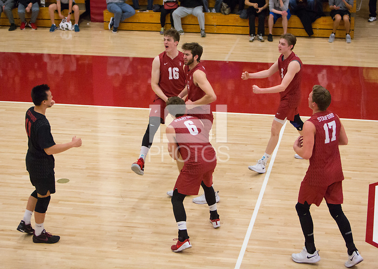 STANFORD, CA - March 10, 2018: Matt Klassen, Evan Enriques, Eli Wopat, Leo Henken, Kyler Presho, Russell Dervay at Burnham Pavilion. The Stanford Cardinal lost to UC Irvine, 3-0.