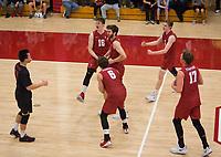 STANFORD, CA - March 10, 2018: Matt Klassen, Evan Enriques, Eli Wopat, Leo Henken, Kyler Presho, Russell Dervay at Burnham Pavilion. The Stanford Cardinal lost to UC Irvine, 3-0.