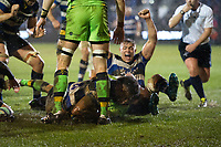 Levi Douglas of Bath Rugby scores a try in the first half. Anglo-Welsh Cup Semi Final, between Bath Rugby and Northampton Saints on March 9, 2018 at the Recreation Ground in Bath, England. Photo by: Patrick Khachfe / Onside Images