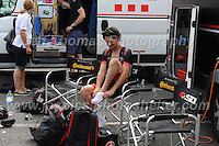 NFTO racing team cyclist's prepare for the race during the Abergavenny Festival of Cycling &quot;Grand Prix of Wales&quot; race on Sunday 17th 2016<br /> <br /> <br /> Jeff Thomas Photography -  www.jaypics.photoshelter.com - <br /> e-mail swansea1001@hotmail.co.uk -<br /> Mob: 07837 386244 -