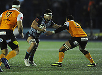 Cardiff Blues&rsquo; Ellis Jenkins gets to grips with Toyota Cheetahs&rsquo; Uzair Cassiem<br /> <br /> Photographer Kevin Barnes/CameraSport<br /> <br /> Guinness Pro14  Round 14 - Cardiff Blues v Toyota Cheetahs - Saturday 10th February 2018 - Cardiff Arms Park - Cardiff<br /> <br /> World Copyright &copy; 2018 CameraSport. All rights reserved. 43 Linden Ave. Countesthorpe. Leicester. England. LE8 5PG - Tel: +44 (0) 116 277 4147 - admin@camerasport.com - www.camerasport.com