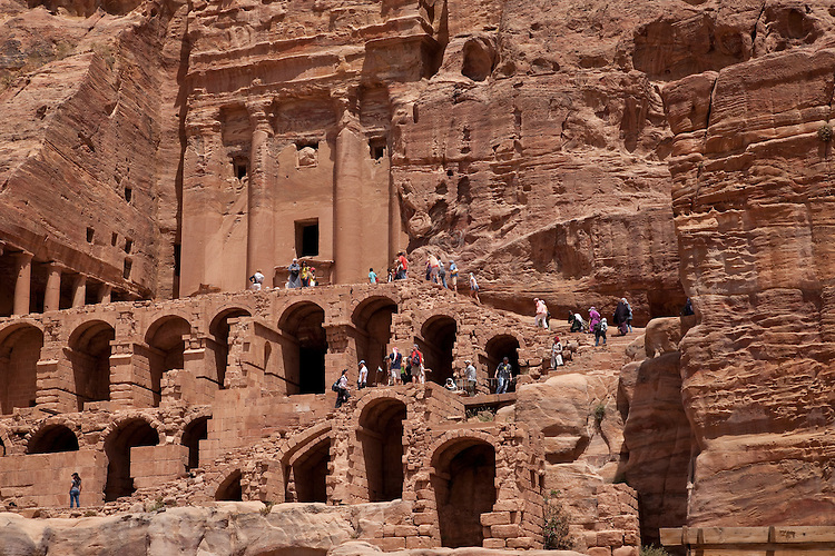 The immense carvings of the Royal Tombs on the cliffs of Petra, Jordan