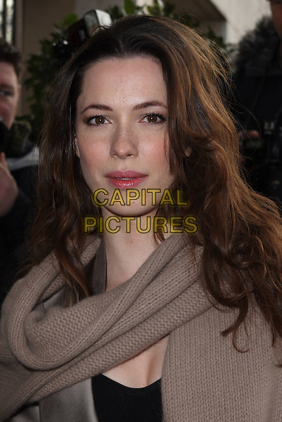 REBECCA HALL .Attending the South Bank Show Awards at the Dorchester Hotel, Park Lane, London, England, UK, .January 26th 2010..outside arrivals portrait headshot  brown scarf knitted knit .CAP/JIL.©Jill Mayhew/Capital Pictures