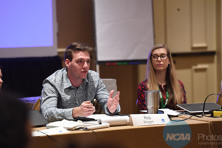 17 JAN 2017:  The NCAA Division III SAAC meeting takes place during the 2017 NCAA Convention takes place at the Gaylord Opryland Resort & Convention Center in Nashville, TN. Justin Tafoya/NCAA Photos (Pictured: Rob Wingert)