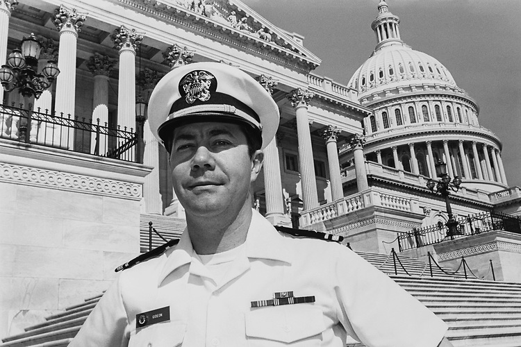 Lieutenant Jerry Gideon (USN-Reserves) on Capitol Hill on Sep. 4, 1990. (Photo by Maureen Keating/CQ Roll Call via Getty Images)