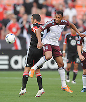 Colorado Rapids defender Tyrone Marshall (34) goes against D.C. United forward  Hamdi Salihi (9) D.C. United defeated the Colorado Rapids 2-0 at RFK Stadium, Wednesday May 16, 2012.