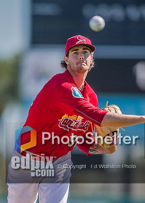 6 March 2016: St. Louis Cardinals pitcher Josh Lucas warms up prior to a Spring Training pre-season game against the Washington Nationals at Roger Dean Stadium in Jupiter, Florida. The Nationals defeated the Cardinals 5-2 in Grapefruit League play. Mandatory Credit: Ed Wolfstein Photo *** RAW (NEF) Image File Available ***