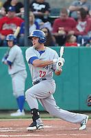 Bobby Crocker #22 of the Stockton Ports bats against the Visalia Rawhide at Rawhide Ballpark on May 5, 2014 in Visalia California. Visalia defeated Stockton, 8-6. (Larry Goren/Four Seam Images)