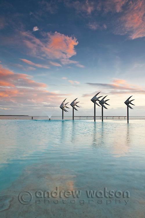 The Esplanade Lagoon at twilight.  Cairns, Queensland, Australia