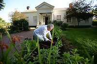 Dian Holmes of Fayetteville plants goldenrod Tuesday, April 9, 2019, in front of the Historic Headquarters House in Fayetteville. Holmes, a longtime Master Gardner, joins other members of the Washington County Master Gardener group to work at the historic home and Civil War site each Tuesday morning. Visit nwaonline.com/200520Daily/ for today's photo gallery.<br /> (NWA Democrat-Gazette/Andy Shupe)