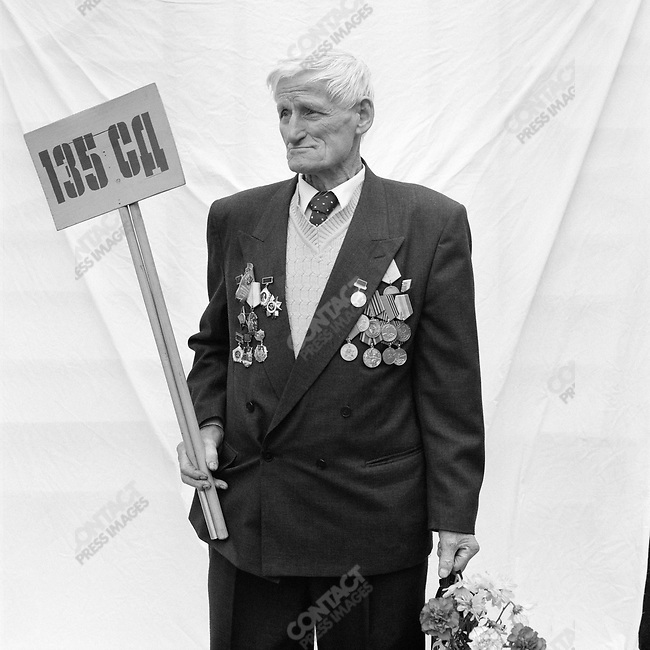 WWII veteran during Victory Day celebrations, Nikolai Ivanovich Bandura, b. 1923, Radio and Telephone Operator, Infantry. Moscow, Russia, May 9, 2007