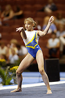 Alina Kozich of Ukraine performs at 2003 World Championships Artistic Gymnastics on August 14, 2003 at Anaheim, California, USA.