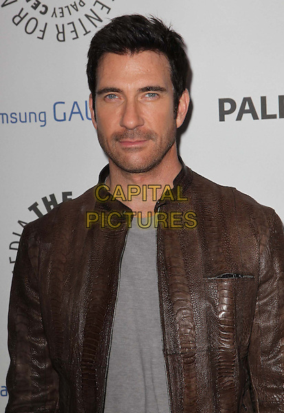 Dylan McDermott.PaleyFest Icon Award 2013 Held At The Paley Center for Media, Beverly Hills, California, USA..February 27th, 2013.half length grey gray  top brown leather jacket stubble facial hair .CAP/ADM/KB.©Kevan Brooks/AdMedia/Capital Pictures.