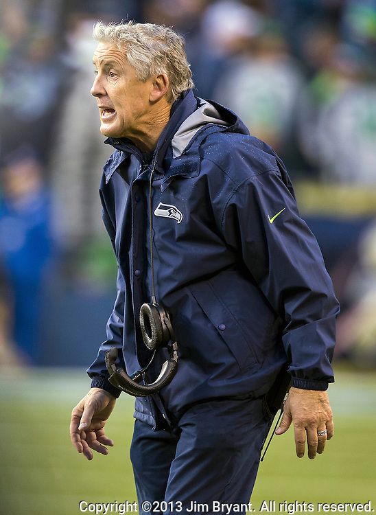 Seattle Seahawks  head coach Pete Carroll questions a off sides penalty during their game against the Minnesota Vikings at CenturyLink Field in Seattle, Washington on  November 17, 2013.  The Seahawks beat the Vikings 41-20.  ©2013.  Jim Bryant. All Rights Reserved.