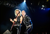 Judas Priest - guitarist KK downing and vocalist Rob Halford - performing live on the Mercenaries of Metal Tour at the Rosemont Horizon in Chicago, Illinois.USA - Aug 24, 1988.  Photo credit: Gene Ambo/IconicPix