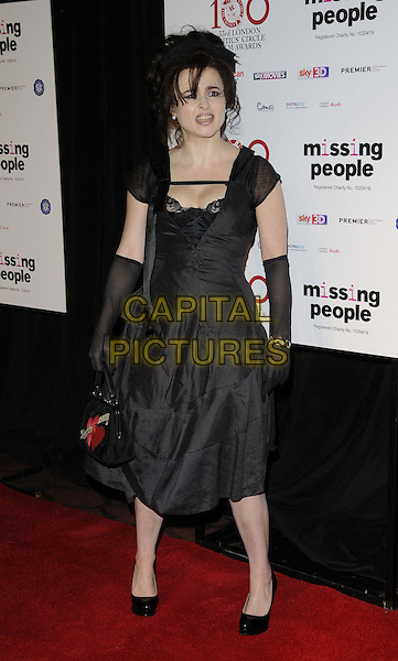 Helena Bonham Carter.The London Critics' Circle Film Awards, May Fair Hotel, Stratton St., London, England..January 20th, 2013.full length black lace dress gloves bag purse hearts .CAP/CAN.©Can Nguyen/Capital Pictures.