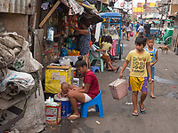Slum area near North Harbour poverty and recycling of plastic, Manila, Philippines