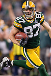 Green Bay Packers wide receiver (87) Jordy Nelson (87) runs with the ball after a reception during Super Bowl XLV against the Pittsburgh Steelers on Sunday, February 6, 2011, in Arlington, Texas. The Packers won 31-25. (AP Photo/David Stluka)
