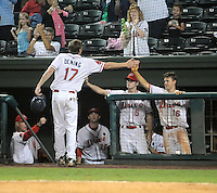 Sept. 18, 2009: Mitch Dening (17) is congratulated after scoring the Drive's only run. The Lakewood BlueClaws won Game 4 of the South Atlantic League Championship Series against the Greenville Drive 5-1 at Fluor Field at the West End in Greenville, S.C. Lakewood won the series 3 games to 1. Photo by: Tom Priddy/Four Seam Images
