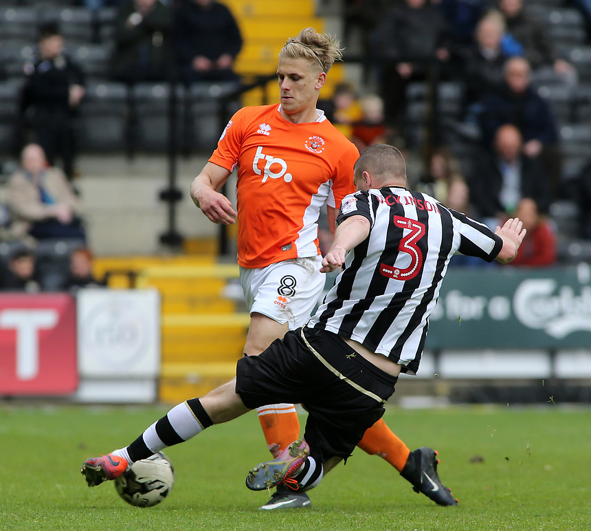Blackpool's Brad Potts is tackled by Notts County's Carl Dickinson<br /> <br /> Photographer David Shipman/CameraSport<br /> <br /> The EFL Sky Bet League Two - Notts County v Blackpool - Saturday 29th April 2017 - Meadow Lane - Nottingham<br /> <br /> World Copyright &copy; 2017 CameraSport. All rights reserved. 43 Linden Ave. Countesthorpe. Leicester. England. LE8 5PG - Tel: +44 (0) 116 277 4147 - admin@camerasport.com - www.camerasport.com