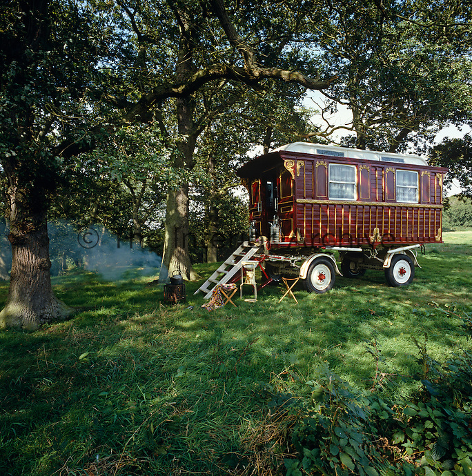 A fully-equipped showman's wagon is moved each summer to a copse of old trees