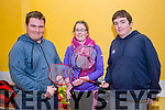 Kyle Reidy, Stephanie Kenny and James Beazley at the Ballyheigue Badminton Tournament at the Community Hall on Sunday