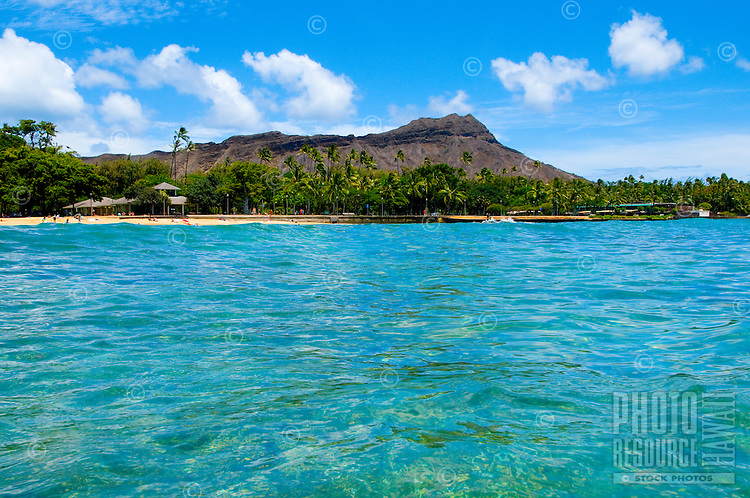 View of Diamond Head Crater and Waikiki Beach from the ocean off O'ahu