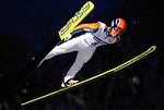 Akira Higashi of Japan  soars through the air during the FIS World Cup Ski Jumping in Sapporo, northern Japan in February, 2008.