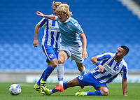 Biram Kayal of Brighton & Hove Albion (right) challenges for the ball during the Friendly match between Brighton and Hove Albion and Lazio at the American Express Community Stadium, Brighton and Hove, England on 31 July 2016. Photo by Edward Thomas / PRiME Media Images.