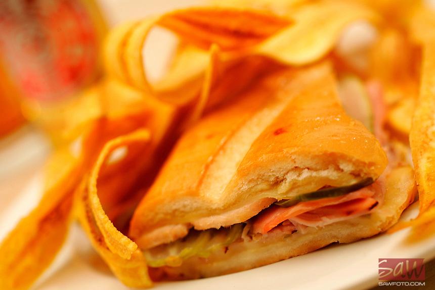 CUBAN sandwich and banana chips.