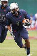 Washington, DC - September 16, 2016: Howard Bison wide receiver Guy Lemonier Jr. (1) runs after catching the ball during game between Hampton and Howard at  RFK Stadium in Washington, DC. September 16, 2016.  (Photo by Elliott Brown/Media Images International)