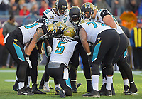 Jacksonville Jaguars quarterback Blake Bortles (5) calls a play in the huddle against the New England Patriots in the AFC Championship game Sunday, January 21, 2018 in Foxboro, MA.  (Rick Wilson/Jacksonville Jaguars)