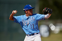 Christian Cairo during the WWBA World Championship at the Roger Dean Complex on October 19, 2018 in Jupiter, Florida.  Christian Cairo is a shortstop from Clearwater, Florida who attends Cavalry Christian High School and is committed to Louisiana State.  (Mike Janes/Four Seam Images)