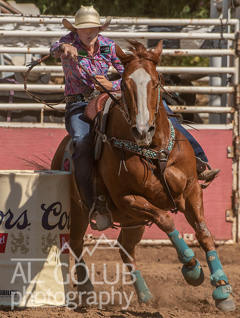 Barrel Racer Lacey Lockard from Atascadero, California at the 62nd annual Mother Lode Round-up on Sunday, May 12, 2019 in Sonora, California.  Photo by Al Golub