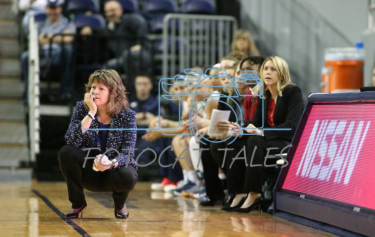Nevada Head Coach Jane Albright works the sidelines of a women's basketball game against Air Force in Reno, Nev., on Saturday, Jan. 9, 2016. Nevada won 67-58.<br /> Photo by Cathleen Allison