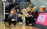 Nevada Head Coach Jane Albright works the sidelines of a women's basketball game against Air Force in Reno, Nev., on Saturday, Jan. 9, 2016. Nevada won 67-58.<br />