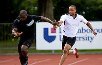 29 JUL 2008 - LOUGHBOROUGH, UK - Harry Aikines Aryeetey takes the baton from Ricky Fifton during the Team GB 4x100m practise - Beijing bound Loughborough students, graduates and staff and, Team GB 4x100m Relay team training. (PHOTO (C) NIGEL FARROW)