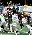 SIOUX FALLS, SD - FEBRUARY 21:  Corey Johnsen #96 and Tyler Knight #3 from the Sioux Falls Storm try ad block the field goal attempt of Joe Houston #25 from the Nebraska Danger in the first quarter of their game Friday night at the Sioux Falls Arena. (Photo by Dave Eggen/Inertia)