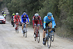 The breakaway group on gravel sector 3 Radi during the 2017 Strade Bianche running 175km from Siena to Siena, Tuscany, Italy 4th March 2017.<br /> Picture: Eoin Clarke | Newsfile<br /> <br /> <br /> All photos usage must carry mandatory copyright credit (&copy; Newsfile | Eoin Clarke)