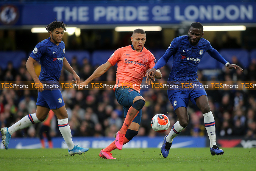 Richarlison of Everton takes on Chelsea's Antonio Rudiger  during Chelsea vs Everton, Premier League Football at Stamford Bridge on 8th March 2020