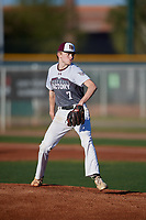 Declan Champey during the Under Armour All-America Pre-Season Tournament, powered by Baseball Factory, on January 19, 2019 at Sloan Park in Mesa, Arizona.  Declan Champey is a right handed pitcher from New Bern, North Carolina who attends New Bern High School.  (Mike Janes/Four Seam Images)