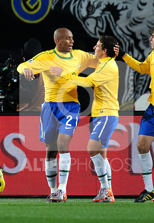 Maicon celebrates after scoring the opening goal during the 2010 FIFA World Cup South Africa Group G match between Brazil and North Korea at Ellis Park Stadium on June 15, 2010 in Johannesburg, South Africa.