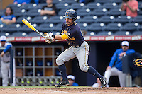 Aaron Knapp (23) of the California Golden Bears follows through on his swing against the Duke Blue Devils at Durham Bulls Athletic Park on February 20, 2016 in Durham, North Carolina.  The Blue Devils defeated the Golden Bears 6-5 in 10 innings.  (Brian Westerholt/Four Seam Images)