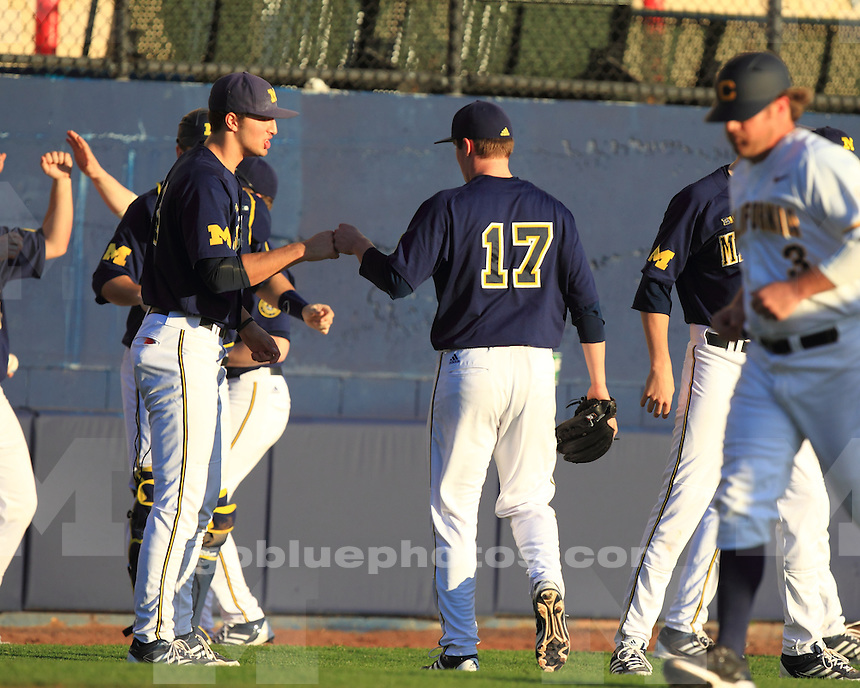 The University of Michigan baseball team lost to California, 5-4, in 11 innings at Evans Diamond in Berkeley Calif., on February 15, 2013.